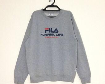 Rare!!! Vintage FILA Spellout Fun Feel Life Sweatshirt Vtg Crewneck Fila Biella italia Pullover Jacket m L size