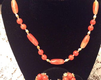 lovely Orange and Gold Tone Beaded Necklace and Earring Set