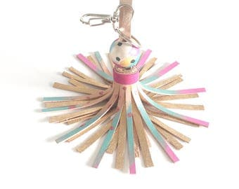 Leather Tassel Keychain, keyring, bag charm - hand painted combined with metallic leather.