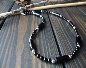 Black beaded necklace Gemstone necklace Black stone jewelry Little necklace Onyx necklace 4 mm Elegant necklace Black beaded choker for man