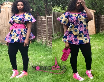 "The ""flower-power"" circle blouse / ankara / African print / circle top / maternity / plus size / ankara blouse / flare sleeve / kitenge"