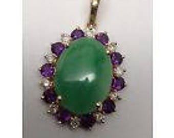 Vintage 14k Yellow Gold Jade Amethyst and Diamond Pendant with Pearl Enhancer Bail