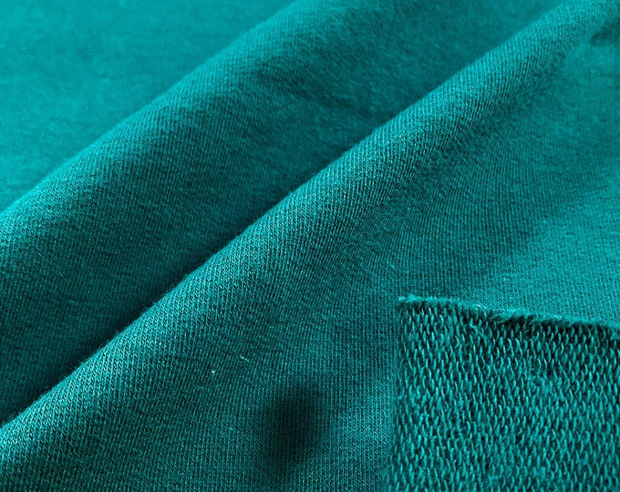 Cotton French Terry Knit Fabric with Spandex (Wholesale Price Available By the Bolt) USA Made Premium Quality - 5471R5 TEAL - 1 Yard