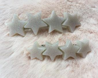 white glitter star barrette, hair clips for women and girls