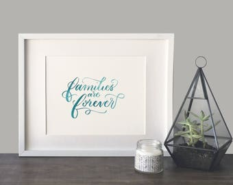 Families are forever watercolor printable 8x10