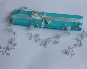 Rose Gold crystal and pearl hair vine River Pearls Crystals Wedding Headband Bridal Hair Vine Bridal Wreath Diadem Flower Headband