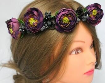 Purple floral crown Purple wedding wreath  Flower hair wreath  floral crown  Bridal headband Bridesmaid headpiece Wedding halo Flower crown