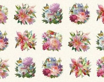 "Hummingbird Bouquet,on cream,Elizabeth Studio 24x44"" panel"