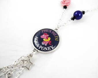 "Kawaii fantasy necklace - ""I can't I have aqua pony"""