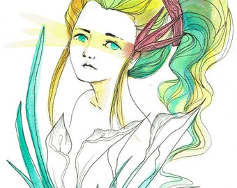 Art Print - Woman with Green and Yellow Hair
