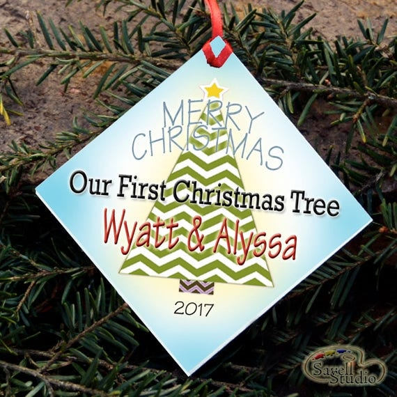 Our First Christmas Tree, Personalized Christmas Ornament, Name and Year, Christmas Tree Ornament, Merry Christmas,