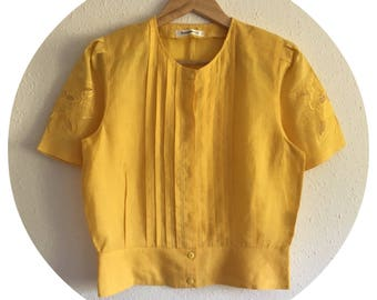 Vintage 80's Mustard Yellow Short Sleeved Summer Blouse Size 12