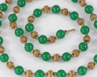 Vintage Green Beaded Necklace, Long Glass Bead Necklace, Green and Gold Bead Necklace, Art Deco Style Necklace, Emerald Green Necklace