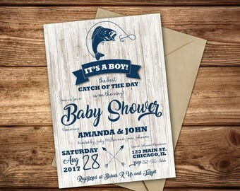 Fishing Baby Shower Invitations | Catch Of The Day | Fishing Party | Fishing  Baby Shower