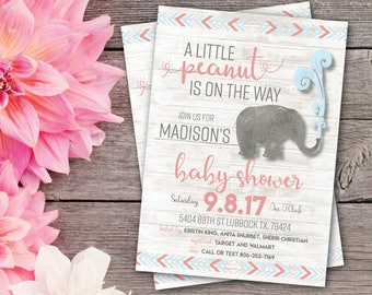 Little Peanut Baby Shower Invite | Elephant Baby Shower Invitation | Little Peanut Invite | Elephant Invites | Little Peanut Baby Shower