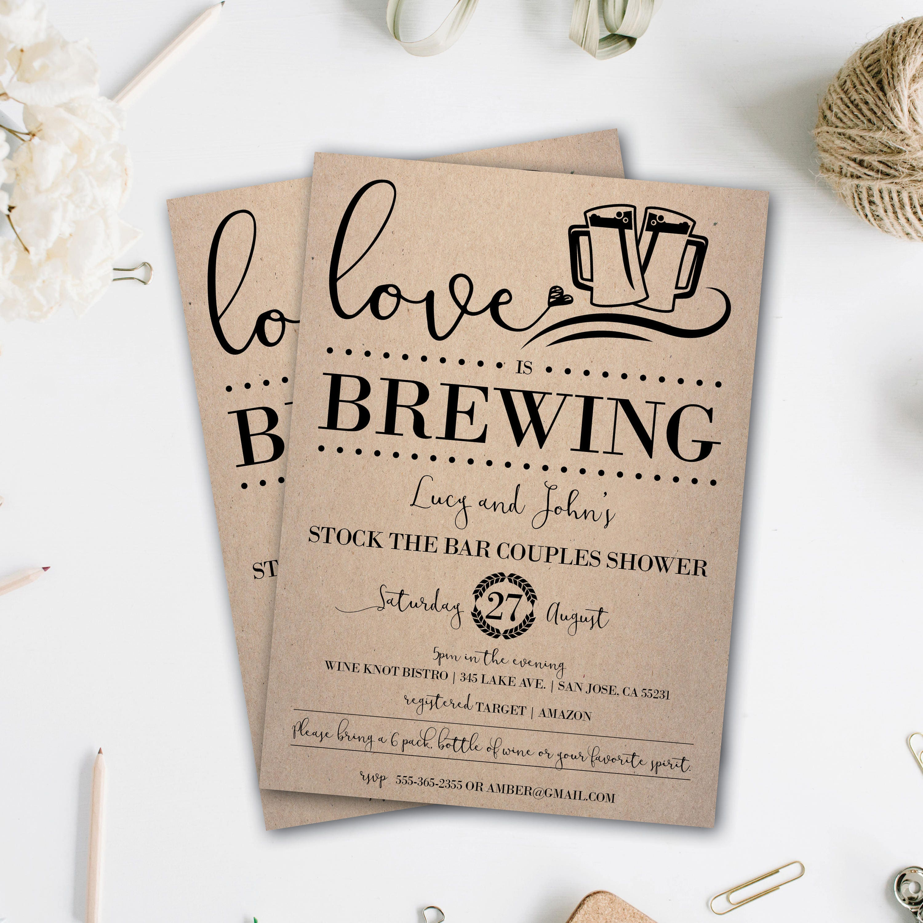 Stock the Bar Invitation | Couple Shower Invitation | Love is ...