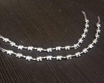Elephant anklets | Animal jewelry anklets | Ethnic boho anklet | Barefoot anklets | Linked elephant jewelry | Festive gift anklets | A175