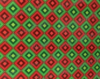 Red and Green Diamond Pattern Vinyl, HTV and Outdoor Vinyl, Plaid Vinyl, Printed Vinyl, Printed HTV, Christmas Vinyl