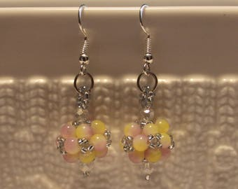 Beautiful Czech crystal-beaded earrings in cute colors; handmade, dangle & drop, beadweaving, cute, casual-wear, party-wear