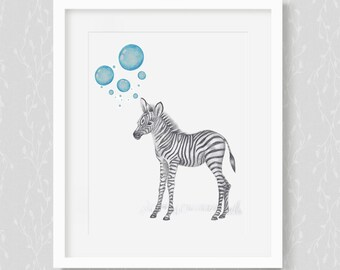 Baby Zebra. Baby Animals, Nursery Art. Nursery Decor, Nursery Print. Baby's Room Decor. Animal Drawing. Kid's Wall Art. Kid's Room.