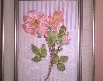 """Mini embroidered picture""""Romantic""""Vintage roses.Gift for special people.Christmas."""