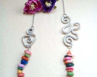 Aluminium and multicolored stones necklace