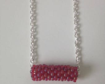 Pink peyote stitch tube necklace