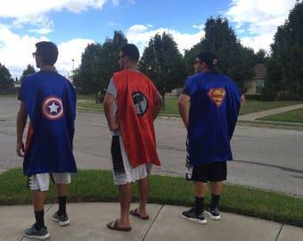 1 ADULT Superhero cape - Supergirl, Wonder Woman, Batman, Superman, Spiderman Capes - Superhero, birthday party favors,  superhero capes