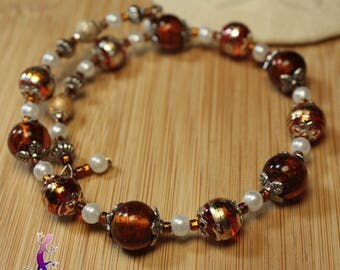 Amber bracelet with lampwork glass beads with silver foil
