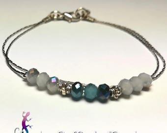 """Prague"" bracelet with blue Czech Crystal beads"
