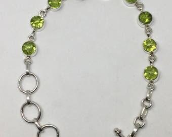 Peridot sterling silver bracelate