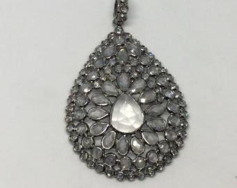 Pave white topaz sterling silver  charm
