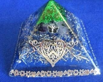 Charged amethyst crystal orgone pyramid powerful energy generator