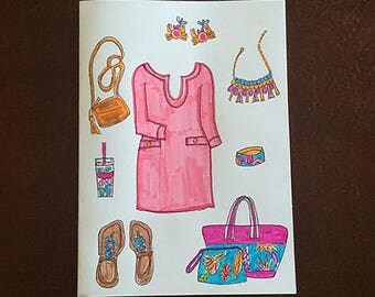 Lily Pulitzer Inspired Note Cards/Lily Pulitzer Inspired Stationary/FASHION ILLUSTRATION/Hand Drawn Cards/All Occasion Cards/Greeting Cards