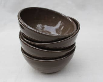 Anthracite Ceramic Bowls - Hand Thrown Pottery - Natural Clay - Ready to Ship