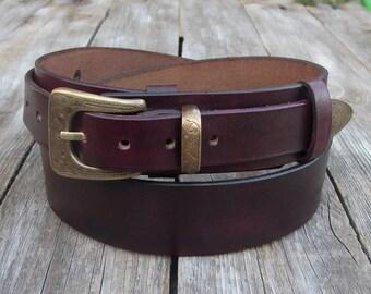 Leather Belt, Hand painted Italian cowhide belt, Mel Gibson style leather belt, Jeans belt, Dark burgundy leather belt