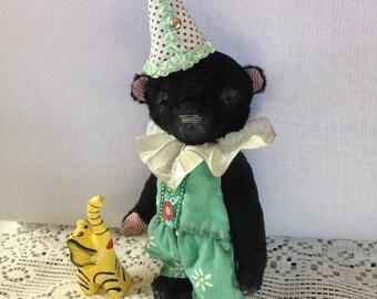 Clown Teddy Bear Teddy bear Antique bear Stuffed bear Plushies teddy Vintage toy Collectible toy Black bear stuffed
