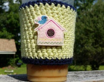 Reusable coffee sleeve, coffee cozy, to go cup sleeve, Birdhouse.