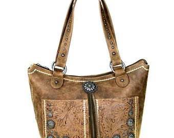 Brown Western Concho Concealed Carry Leather Purse Tassels