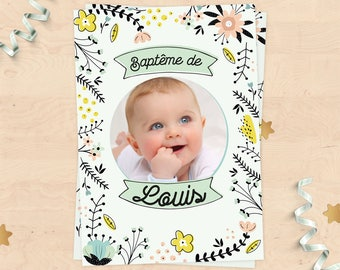 (Girl or boy) customizable baptism announcement - pastel flowers Scandinavian Collection