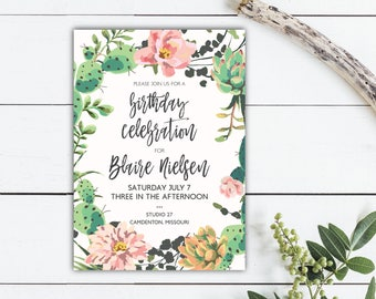 Succulent + Floral Invitation