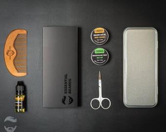 Christmas Box, Beard Grooming Kit, Mens Gift, Steel Scissor, Grooming Box For Him, Moustache Wax, Birthday Gift, Beard Comb, Beard Oil