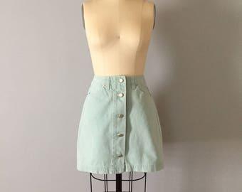 sea green button up denim mini skirt || 1980s denim skirt || summer denim mini skirt