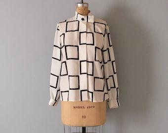 20% OFF SALE... 1980s Albert Nipon blouse | geometric squares print | minimalist top