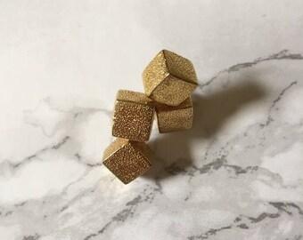 20% OFF SALE... golden cube earrings   minimalist cube ear studs