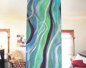 Long Narrow Green Abstract Painting Acrylic on Canvas Blue Purple Wall Art Modern Turquoise Blue Original 12x36 wall hanging pen and ink