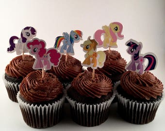 My Little Pony Cupcake Toppers - Girls Party Decorations - My Little Pony Party Cupcakes - My Little Pony Cupcake Toppers - MLP Party