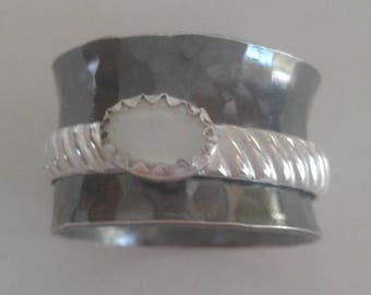 Black patinaed  Fine Silver spinner ring with moonstone