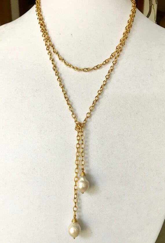"""Lariat, Pearl Lariat,  Baroque Pearl Gold Lariat, Drop Pearl, Rolo Chain, 22K Gold Plate, 48"""" long"""