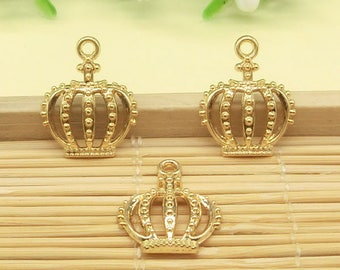 20pcs Gold Plated Princess Queen Crown Charms Prince Crown Charm Royal Charms 15x18mm cf0021